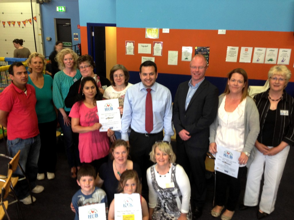 Stephen Donnely with childminders and staff at the launch of the Hubs.