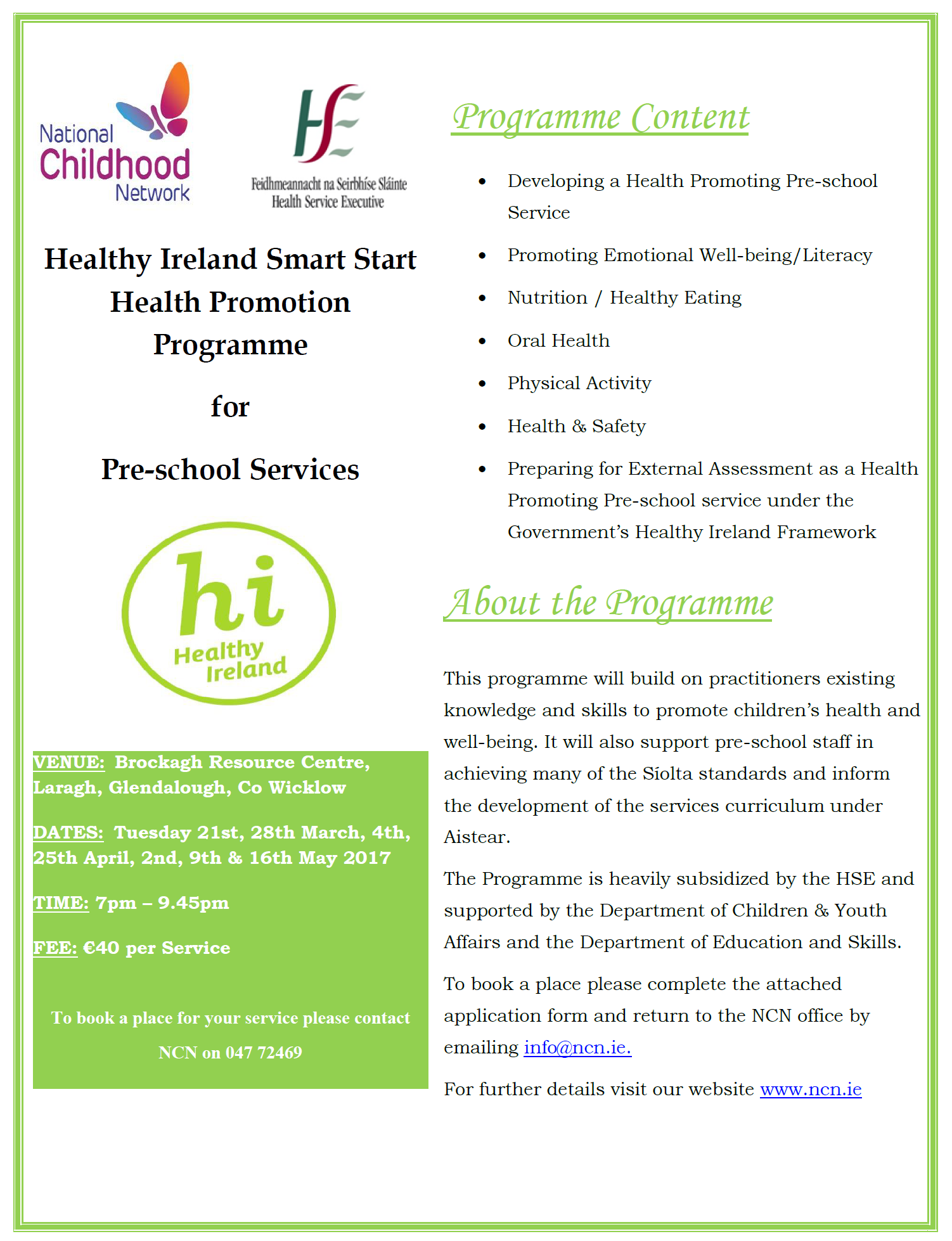 Invitation to participate in the healthy ireland smart start it also builds on other health promoting initiatives pre school staff may have previously engaged in stopboris Gallery